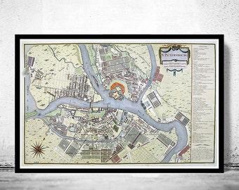 Old Map of  Saint Petersburg, S. Peterbourg Russia 1783 vintage Map