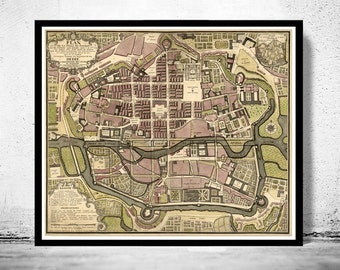 Old Map of Rennes  France 1726