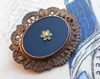 French antique 18k pink gold vermeil brooch antique reliquary  black glass cabochon flower antique brooch