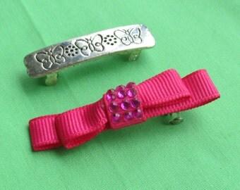 Retro Broken Barrette Butterflies  Fuschia Ribbon  Metal  Repair Repurpose