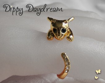 Gold Adjustable Angel Wings Cat Kitten Ring