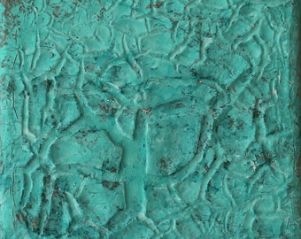 Abstract painting, 4x4, contemporary art, mixed media, turquoise, modern painting, Art & Collectibles, original painting, Texture Painting