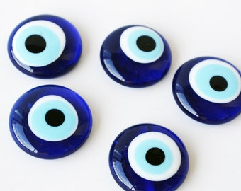 5 pcs Evil Eye Beads Without Hole , Home Decoration Evil Eye, Glass Evil Eye Beads For Decoration Big Blue Glass Beads malocchio  ojo