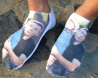 Custom Printed Photo Socks, Full Print Image is Printed on the Top of the Sock, Sold by the Pair and Available in 3 Sizes