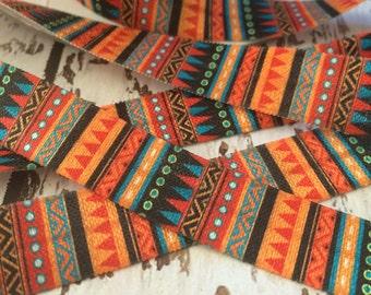 "5/8"" Black Falling Aztec Print Fold Over Elastic   Elastic by the Yard   FOE   Hair Tie Making Supplies"