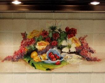 Handpainted mural on tile backsplash