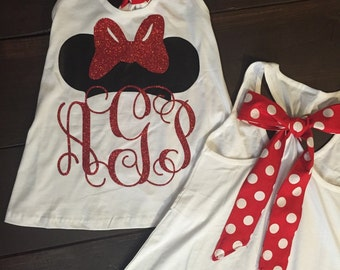 Minnie Mouse Racerback Monogrammed Tank - Vinyl - WITH BOW - Disney Monogram Tank - Disney Shirt - Disney Monogram