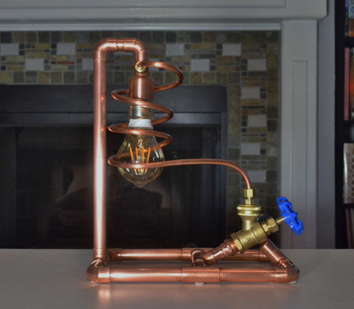 Copper Pipe Lamp With Valve Switch Table Lamp Steampunk