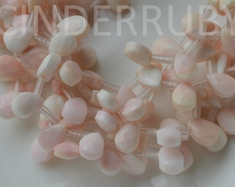 Cream Pink Conch Shell Flat Teardrops,Queen Conch Faceted Briolettes,Top Drilled Pink Mother of Pearl Faceted Teardrops,5-18 mm
