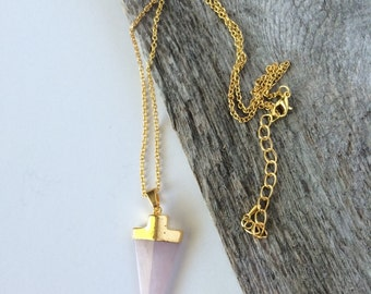 Soft Pink Boho Arrowhead Pendant--Pink Arrowhead Necklace