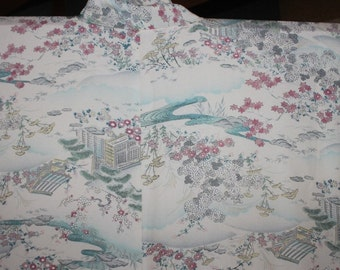 Vintage Japanese Kimono silk with delicate paintings of country cottage  K71