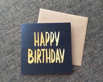 Gold on Black Birthday Card