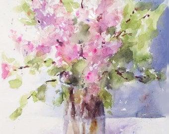 Lilacs pastel floral Watercolor original painting ART Print Korean Lilacs