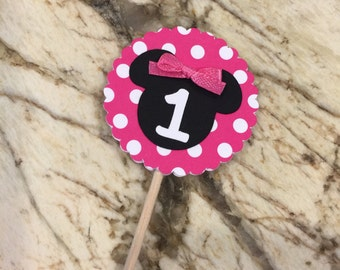 Personalized 12 Minnie Mouse Cupcake Topper - Hot Pink w/ White Polka Dots