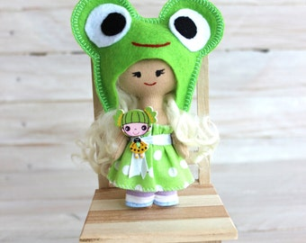 Cloth Doll, frog doll, rag doll, child friendly, doll in green dress, textile doll, blonde doll, pocket doll, gift for Christmas