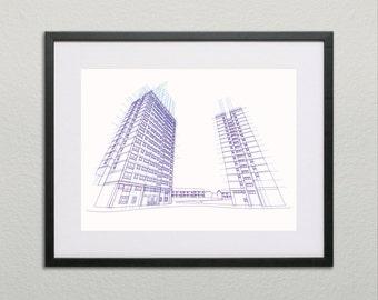 Tower Block Flats Silkscreen Screen Print, Purple & Pale Blue Line, Limited Edition Wall Art.