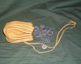 Round Deerskin Pouch with 18 Viking Age Replica Coins
