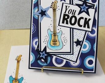 You Rock Birthday Card -  Handmade Greeting Card