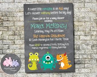 Little Monster Baby Shower Invitation Boy or Girl Baby Shower Invitation Lil Monster Shower Invite, Friendly Monster, 5x7 - Printable
