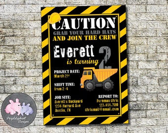 Construction Zone Birthday Invitation, Construction Birthday Party, Boys Second Birthday Invitation, Hard Hat Birthday Party 5x7 Printable