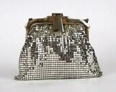 Whiting and Davis Silver Mesh Bag - Art Deco Era Silver Evening Bag - Vintage 1930s Metal Frame Purse