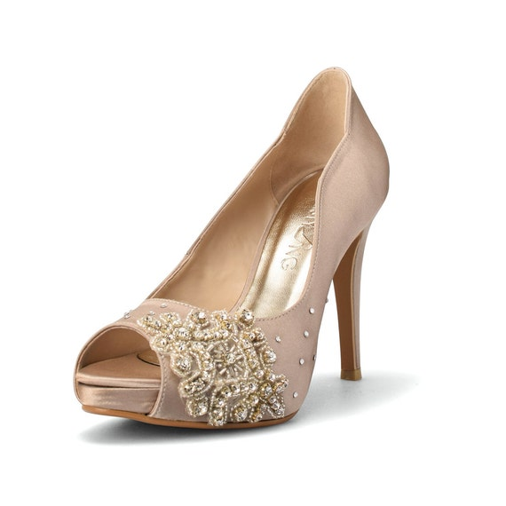 Champagne Wedding Heels Diamante Wedding Shoes Swarovski