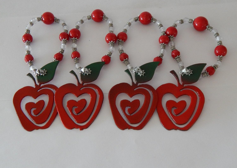 Red Apple Kitchen Decor Teachers Giftset Of 2 Applesapple Kitchen Decormetal Artapple