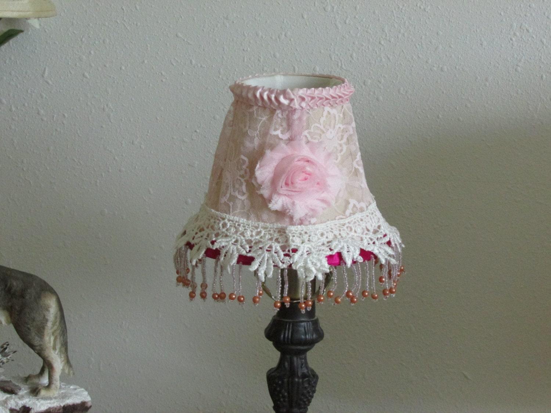Small Shabby Chic Lamp Shade Lace Table Lighting Retro
