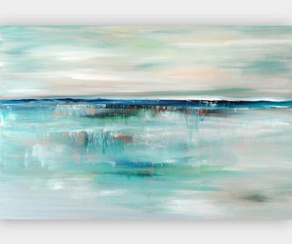 Toile art abstrait peinture bleu beige turquoise peinture for Peinture bleu turquoise