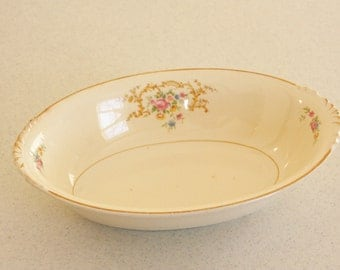 Nautilus oval veg bowl-numbered-vintage serving bowl-ivory with floral bouquet and garland design
