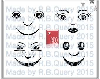 Doll Faces Cut File SVG DXF Jpeg PNG commercial use