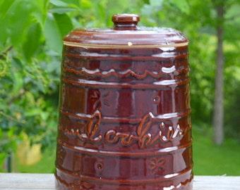 SALE - 1950 Marcrest Brown Daisy Dot Cookie Jar