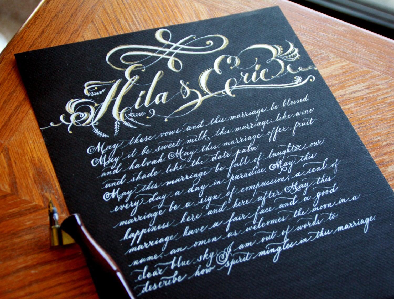 Custom handwritten calligraphy wedding vows vow