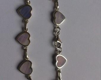 vintage sterling silver and lace agate gemstone bracelet