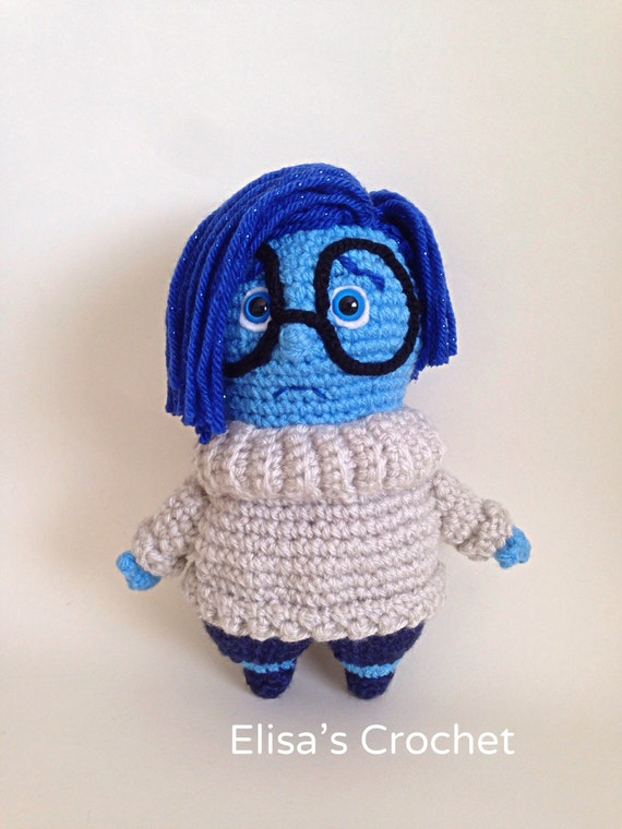 Inside Out Sadness Amigurumi : Inside Out Disney Pixar movie SADNESS crochet amigurumi doll