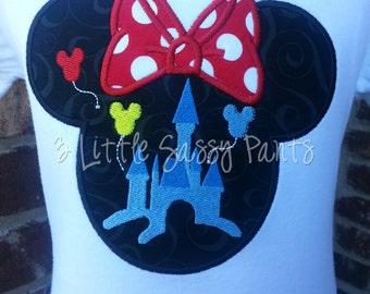 Minnie Mouse Castle Embroidered Shirt- Minnie Mouse Applique- Custom Disney Shirt