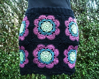 Handmade crochet granny square skirt in black, purple and greens Catania cotton yarn