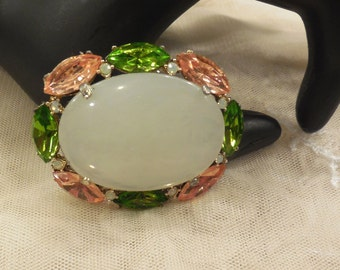 Vintage Oval White Glass Cabochon  Green and Peachy Pink Rhinestone Brooch