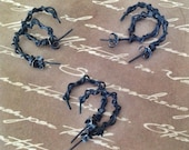 BRIARS. Grungy black ear studs,.70mm copper wire with blackened sterling silver ear backs. 3 pairs.