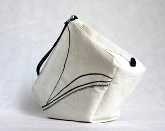 SALE -30% Nautical Handbag Yacht - nautical elegance, art fashion design, black/white, embroidery, shackle. Spectacular gift!