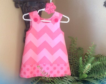 Chevron Dress, Pink Two Tone, Large Chevron (infant, girl, baby, toddler, child) -  with matching hair accessory.
