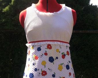 60's vintage Mod Flower Power maxi dress/60's iconic op art flower print maxi dress/60's groovy bold print maxi dress