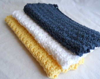 Crochet Dishcloth ~ Crochet Washcloth ~ Cotton Dishcloth ~ French Country ~ Cotton Washcloth ~ Yellow Dishcloth ~ Blue Dishcloth ~ Dishcloth