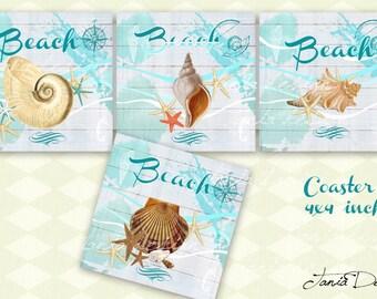 Digital Collage Sheet - Beach - NAUTICAL SEA digital download for scrapbook supplies, printable digital scrapbook paper