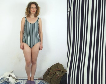 80's vintage women's mint-black striped one piece swimsuit/swimwear