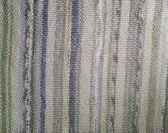 Striped Handwoven Fabric Remnant - Land of Misfit Toys Collection - Fabric Remnant - Neutral/Green/Purple