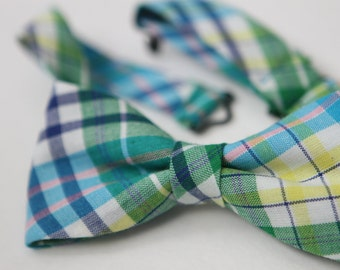 Blue Plaid Baby & Little Boy BowTie * 2 sizes available *