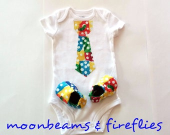 Short or Long Sleeve Hungry Caterpillar Inspired Tie Applique Onesie Matching Baby Booties Baby Slipper and Shirt Set Baby Shower Gift Set