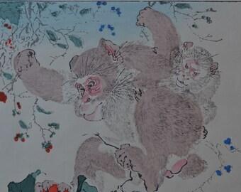 antique original Japanese woodblock pint by Kyosai Kawanabe 2  monkeys