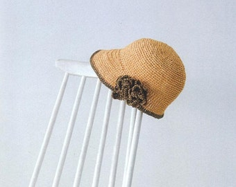 crocheted Straw Cloche Hat,straw sun hat with flower